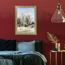 «Зимний пейзаж. 1873» в интерьере гостиной в классическом стиле над диваном