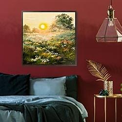 «Восход солнца в поле» в интерьере гостиной с розовым диваном