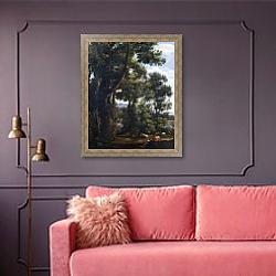 «Пейзаж с погонщиком гусей и гусями» в интерьере гостиной с розовым диваном