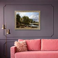 «Стенфодская мельница» в интерьере гостиной с розовым диваном
