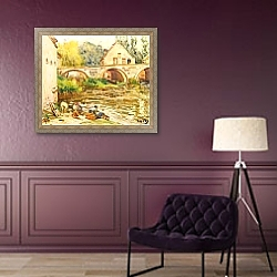 «Прачки в Море-сюр-Луэн» в интерьере классической гостиной над диваном