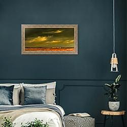 «Приближающаяся гроза в полях» в интерьере классической спальни с темными стенами