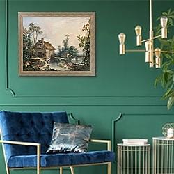 «Пейзаж с водяной мельницей» в интерьере столовой в классическом стиле