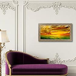 «Поле на закате» в интерьере в классическом стиле над банкеткой