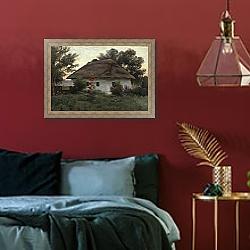 «Украинский пейзаж с хатой» в интерьере зеленой гостиной над диваном