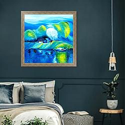 «Озеро и лодки» в интерьере классической спальни с темными стенами