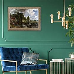 «The Hay Wain» в интерьере в классическом стиле с зеленой стеной