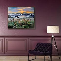 «Лошадь в туманном поле» в интерьере в классическом стиле в фиолетовых тонах
