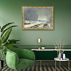 «Распутица» в интерьере классической гостиной над камином