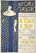 Постер Бердсли Аубри Poster advertising 'A Comedy of Sighs', a play by John Todhunter, 1894