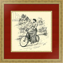 Постер A 19th century female cyclist. From The Strand Magazine published 1897