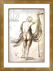 Постер Дюрер Альбрехт Nude Study or, Nude Female from the Back, 1495