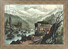 Постер Курье Н. The Route to California. Truckee River, Sierra Nevada. Central Pacific railway, 1871