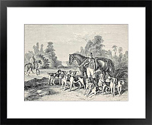 Постер Hunting dog pack .From drawing of Duvaux, engraved by Cosson. Smeeton, published on L'Illustration,