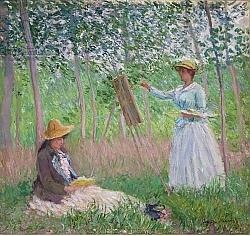 Постер Моне Клод (Claude Monet) In the Woods at Giverny: Blanche Hoschede at her easel with Suzanne Hoschede reading, 1887