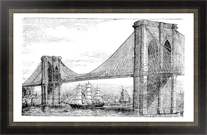 Постер Illustration of Brooklyn Bridge and East River