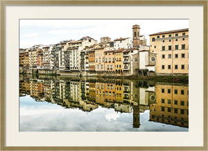 Постер Италия, Флоренция. Old buildings mirrored in the river Arno
