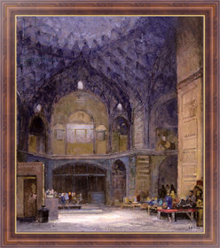 Картина в раме Nineteenth century Bazaar at Kashan, Браун Боб