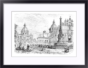 Постер в раме The Elephant fountain,Catania vintage engraving
