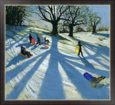 Картина Winter Tree, Snow Sledgers, Calke Abbey, Derby