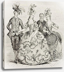 Постер Court Ball in 1785: Costumes of marie Antoniette, Counts of Provence and Count of Artois. Created by