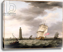 Постер Холман Франсис A Man of War passing the Eddystone Lighthouse, c.1773