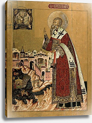 Постер Школа: Русская 17в. Pope Klemens with scenes from his life