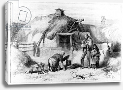 Постер Школа: Ирландская 19в. Bog-Trotters Cabin, from 'The Illustrated London News' 1879