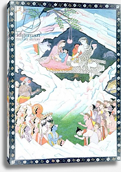 Постер Школа: Индийская The Holy Family of Shiva and Parvati on Mount Kailash