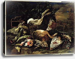 Постер Фит Ян Still Life with a Hare, Song Birds and a Bird Net with a Spaniel Beyond