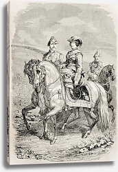 Постер Isabella II Queen of Spain with her King consort. Original, from drawing of Hofer, published on L'Il