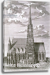 Постер Клейнер Саломон (грав) View of St. Stephan's Cathedral, Vienna engraved by George-Daniel Heumann