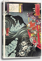 Постер Киниоши Утагава Yoshitsune, with Benkei and Other Retainers in their Ship Beset by the Ghosts of Taira, 1853