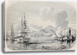 Постер Palermo bombardment in 1860 by Bourbon's fleet and from the Sea castle. Original, from a drawing of
