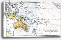 Постер Школа: Английская 19в. Map of the races of Oceania and Australasia, from 'The History of Mankind', 1896
