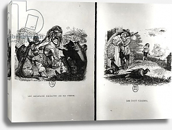 Постер Гранвиль Animals with the Plague and The Two Pigeons, illustrations from the Fables of La Fontaine