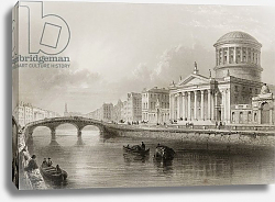 Постер Бартлет Уильям (последователи, грав) The Four Courts, Dublin, from 'Scenery and Antiquities of Ireland' by George Virtue, 1860s