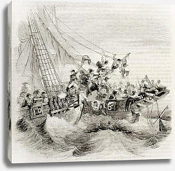 Постер French shooner Courier boarding British ship Hazard. Created by Gudin, published on Magasin Pittores