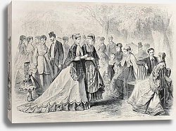 Постер Springtime fashion 1868 in Paris. Original, created by Pauquet, published on L'Illustration, Journal