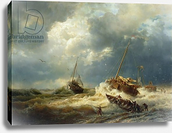 Постер Ахенбах Андреас Ships in a Storm on the Dutch Coast, 1854