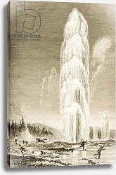 Постер Мэннинг Самуэль (грав) Giantess Geyser in Yellowstone National Park erupting during the 1870s, c.1880