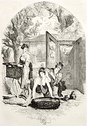 Постер Toilet of a Japanese lady. Created by Morin after Japanese painting by unidentified author, publishe