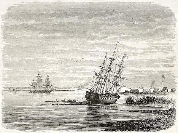 Mississipi mouth, old illustration. Created by De Berard after Reclus, published on le Tour du Monde