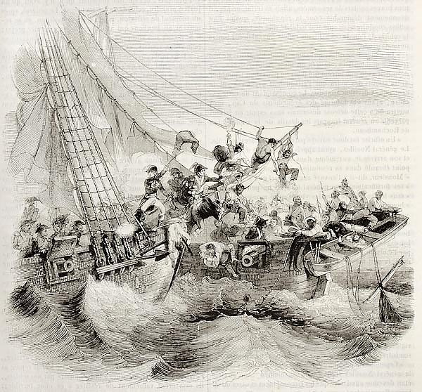 French shooner Courier boarding British ship Hazard. Created by Gudin, published on Magasin Pittores