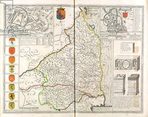 Map of Northumberland, from 'The Theatre of the Empire of Great Britaine', 1611-12