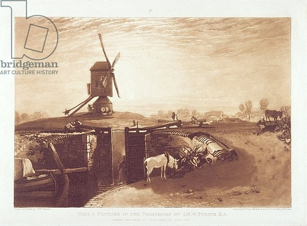 Windmill and Lock, engraved by William Say