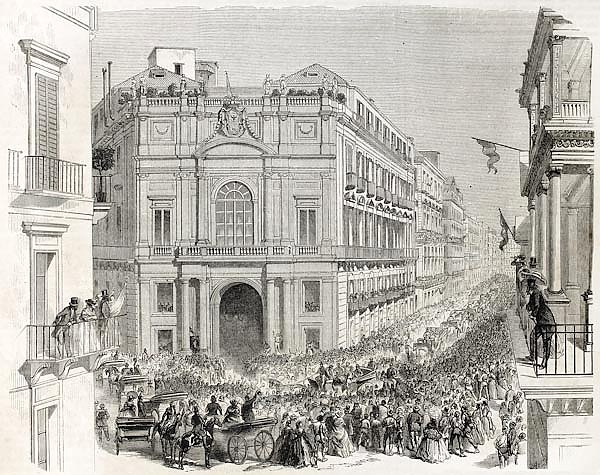 Palazzo Doria d'Angri, Naples, Italy. Creatde by Leroux and Godefroy, published on L'Illustration, J