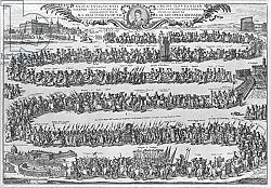 Постер Школа: Итальянская 17в. The Procession of Pope Innocent XII from the Vatican, 1692