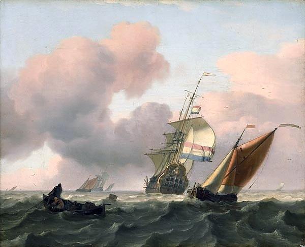 Turbulent sea with ships