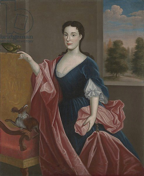 A Hudson Valley Lady with Dog and Parrot, c.1720-30